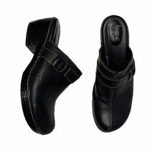 B.O.C. black Leather Clogs / Mules